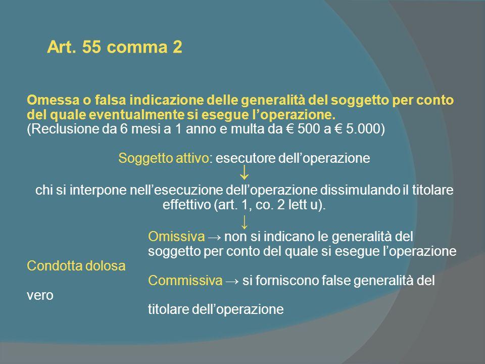 Art. 55 comma 2 Omessa o falsa indicazione delle generalità del soggetto per conto del quale eventualmente si esegue loperazione. (Reclusione da 6 mes