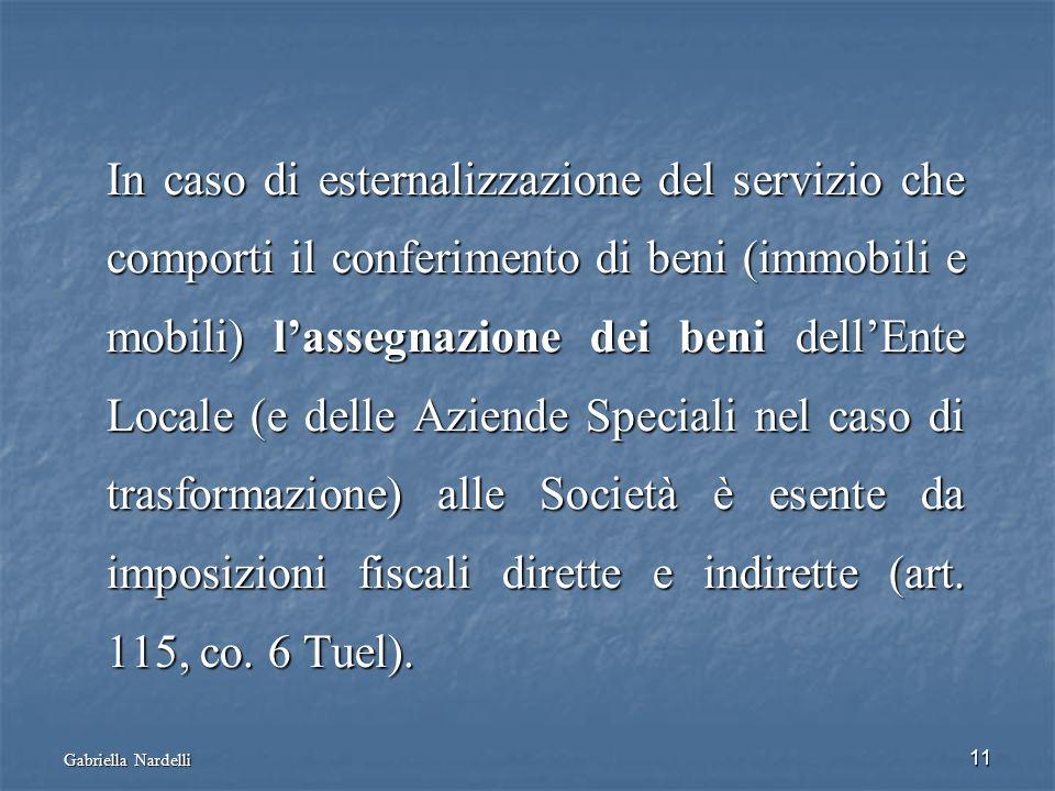 Gabriella Nardelli 11 In caso di esternalizzazione del servizio che comporti il conferimento di beni (immobili e mobili) lassegnazione dei beni dellEn