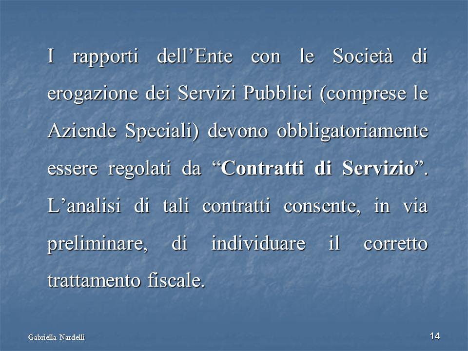 Gabriella Nardelli 14 I rapporti dellEnte con le Società di erogazione dei Servizi Pubblici (comprese le Aziende Speciali) devono obbligatoriamente es