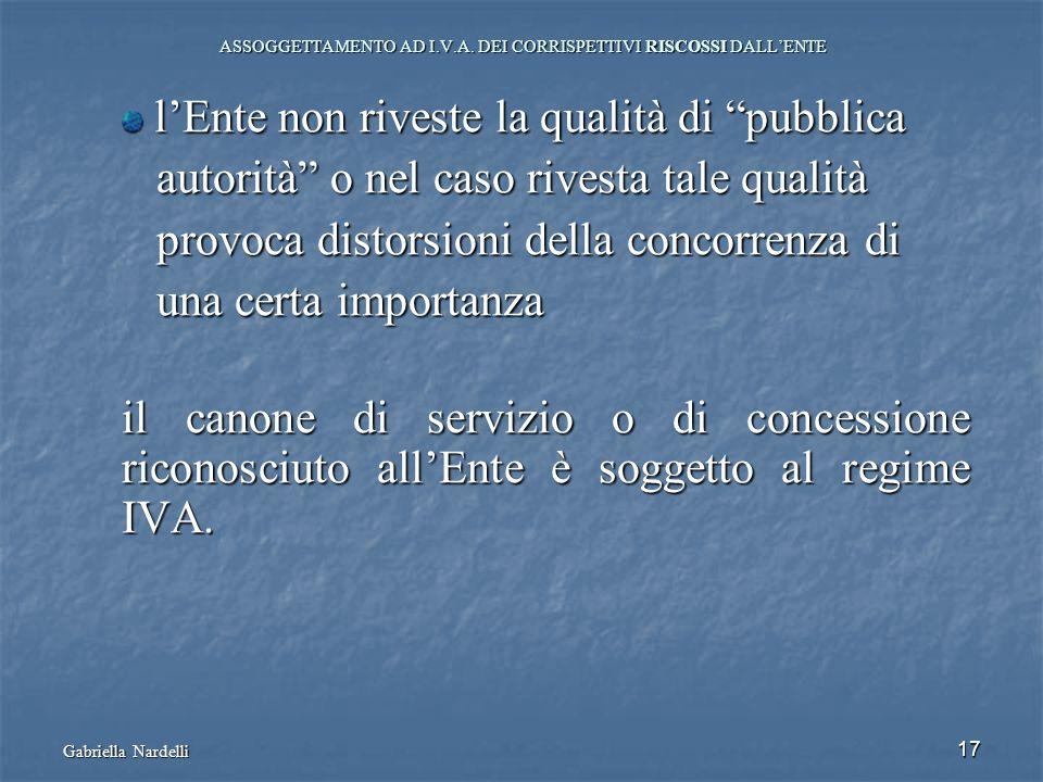 Gabriella Nardelli 17 ASSOGGETTAMENTO AD I.V.A. DEI CORRISPETTIVI RISCOSSI DALLENTE lEnte non riveste la qualità di pubblica lEnte non riveste la qual