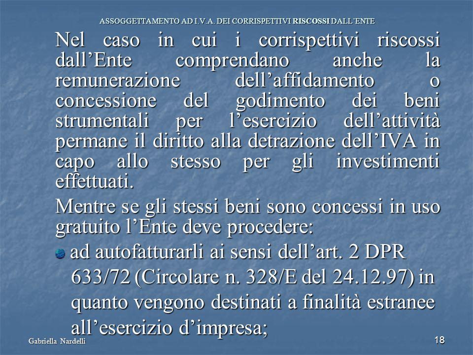 Gabriella Nardelli 18 ASSOGGETTAMENTO AD I.V.A. DEI CORRISPETTIVI RISCOSSI DALLENTE Nel caso in cui i corrispettivi riscossi dallEnte comprendano anch