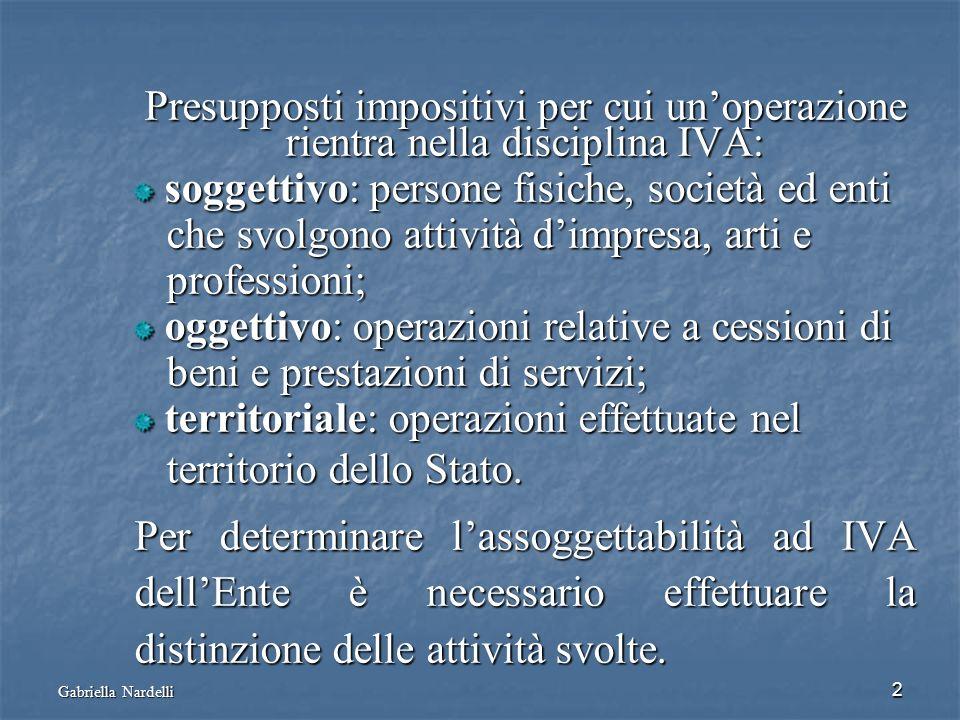 Gabriella Nardelli 2 Presupposti impositivi per cui unoperazione rientra nella disciplina IVA: soggettivo: persone fisiche, società ed enti soggettivo