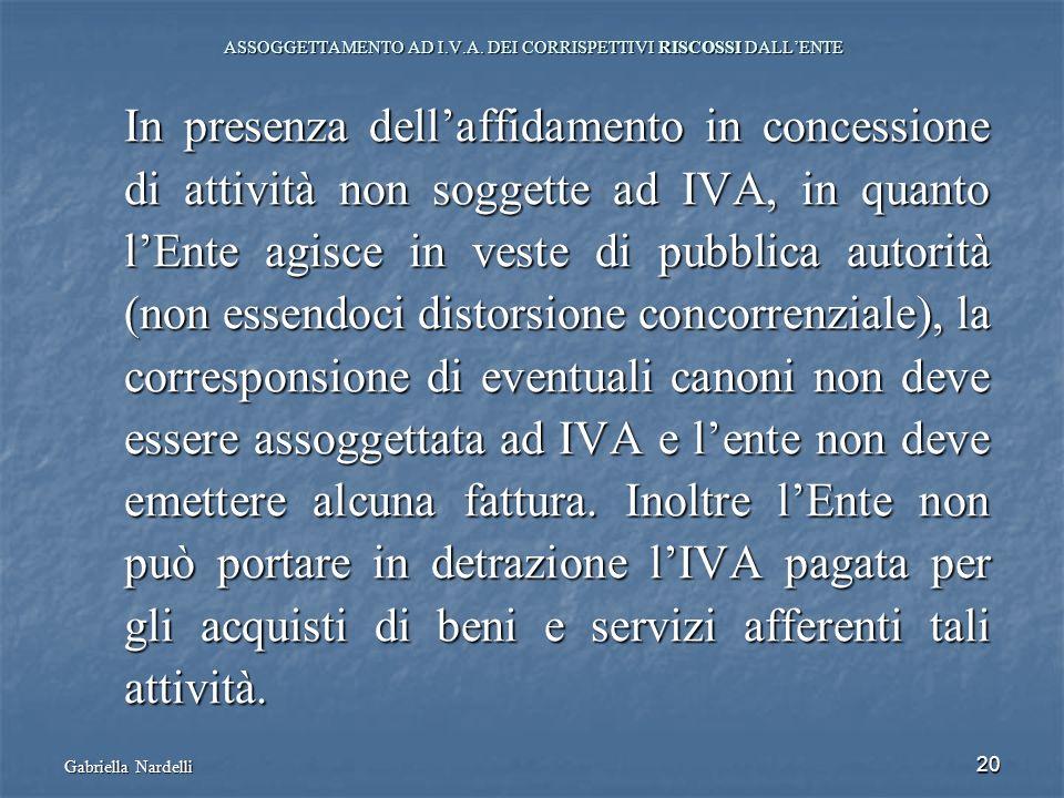 Gabriella Nardelli 20 ASSOGGETTAMENTO AD I.V.A. DEI CORRISPETTIVI RISCOSSI DALLENTE In presenza dellaffidamento in concessione di attività non soggett
