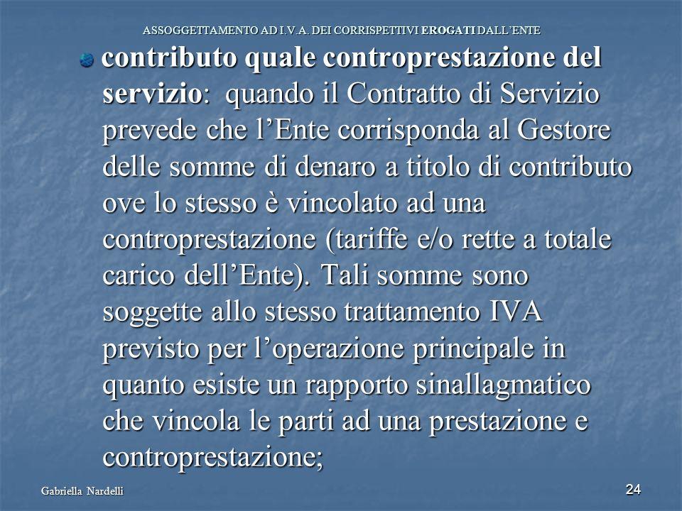 Gabriella Nardelli 24 ASSOGGETTAMENTO AD I.V.A. DEI CORRISPETTIVI EROGATI DALLENTE contributo quale controprestazione del contributo quale controprest