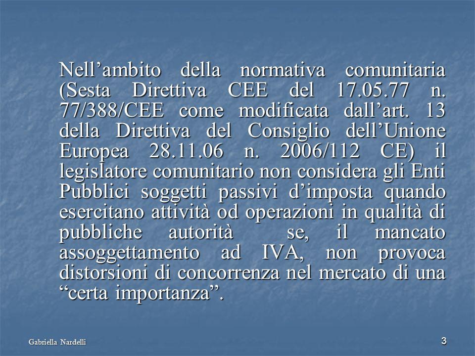 Gabriella Nardelli 3 Nellambito della normativa comunitaria (Sesta Direttiva CEE del 17.05.77 n. 77/388/CEE come modificata dallart. 13 della Direttiv