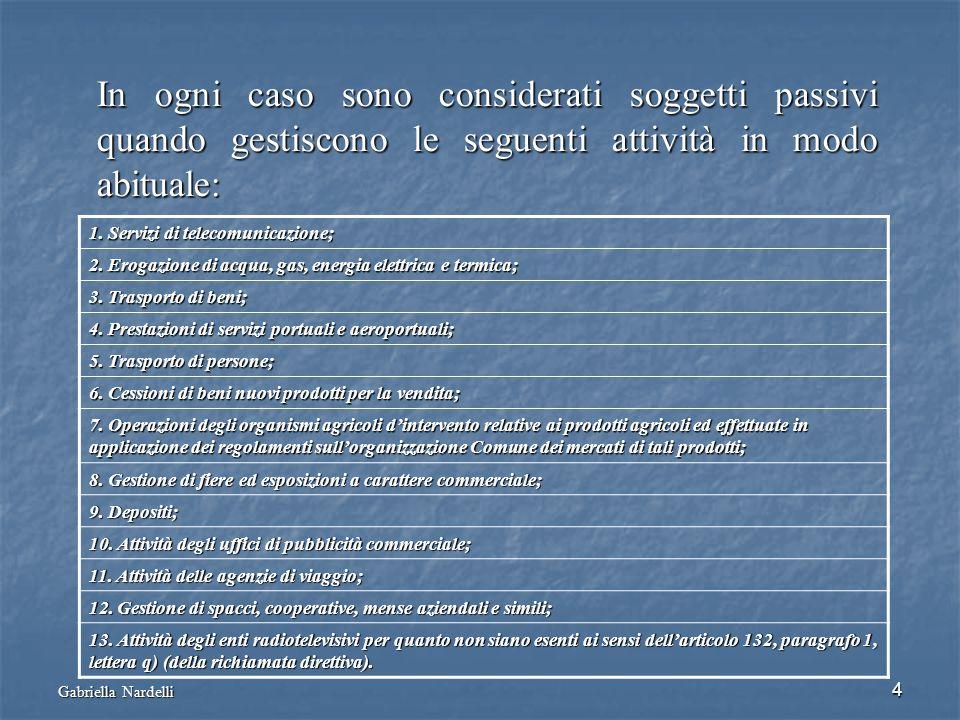 Gabriella Nardelli 4 In ogni caso sono considerati soggetti passivi quando gestiscono le seguenti attività in modo abituale: 1. Servizi di telecomunic