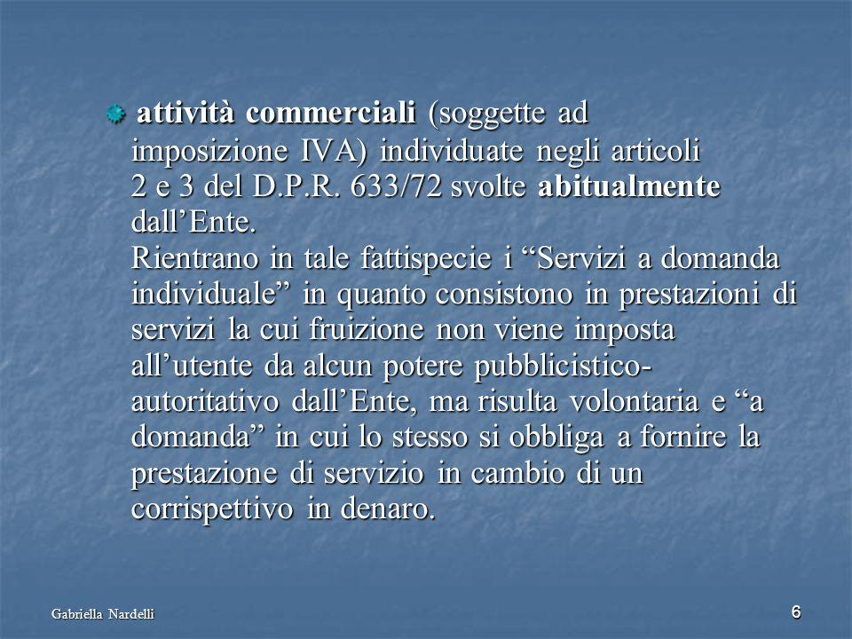 Gabriella Nardelli 6 attività commerciali (soggette ad attività commerciali (soggette ad imposizione IVA) individuate negli articoli imposizione IVA)