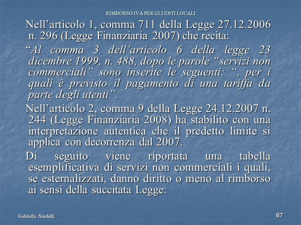 Gabriella Nardelli 67 RIMBORSO IVA PER GLI ENTI LOCALI Nellarticolo 1, comma 711 della Legge 27.12.2006 n. 296 (Legge Finanziaria 2007) che recita: Al