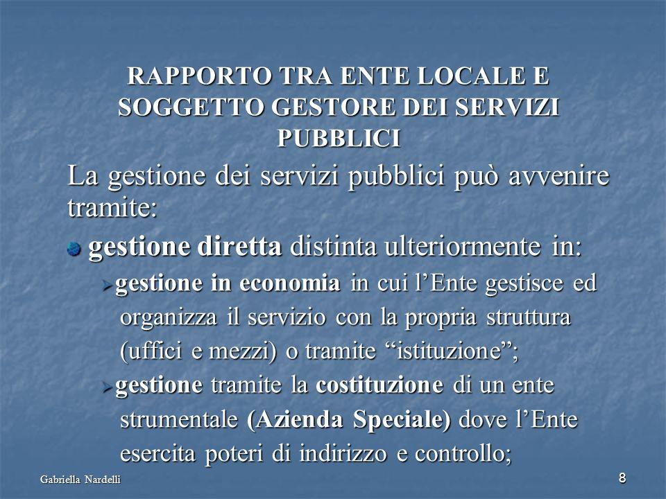 Gabriella Nardelli 8 RAPPORTO TRA ENTE LOCALE E SOGGETTO GESTORE DEI SERVIZI PUBBLICI La gestione dei servizi pubblici può avvenire tramite: gestione