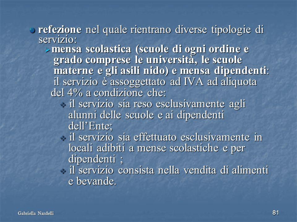 Gabriella Nardelli 81 refezione nel quale rientrano diverse tipologie di refezione nel quale rientrano diverse tipologie di servizio: servizio: mensa