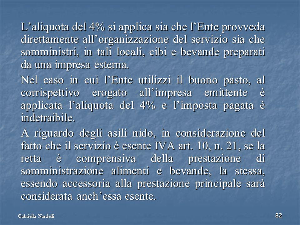 Gabriella Nardelli 82 Laliquota del 4% si applica sia che lEnte provveda direttamente allorganizzazione del servizio sia che somministri, in tali loca