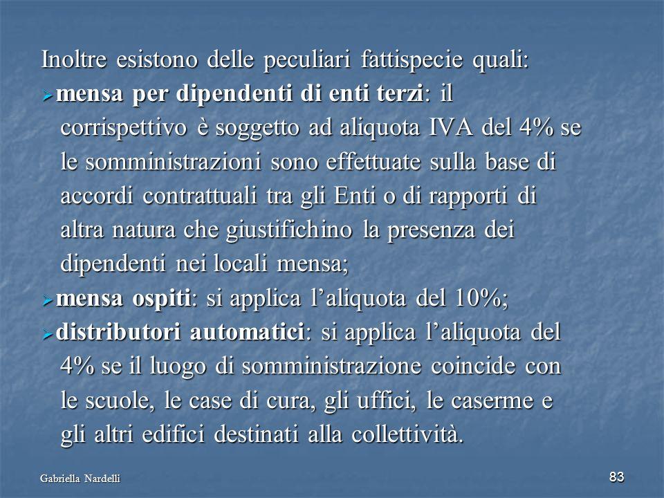 Gabriella Nardelli 83 Inoltre esistono delle peculiari fattispecie quali: mensa per dipendenti di enti terzi: il mensa per dipendenti di enti terzi: i