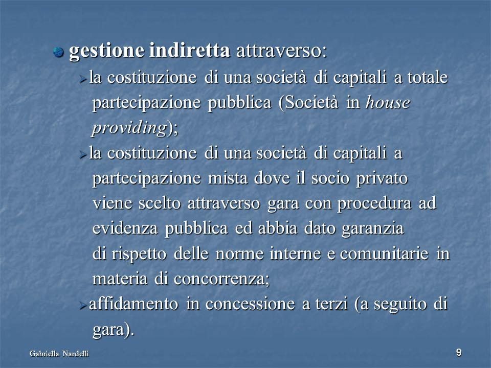 Gabriella Nardelli 9 gestione indiretta attraverso: gestione indiretta attraverso: la costituzione di una società di capitali a totale la costituzione