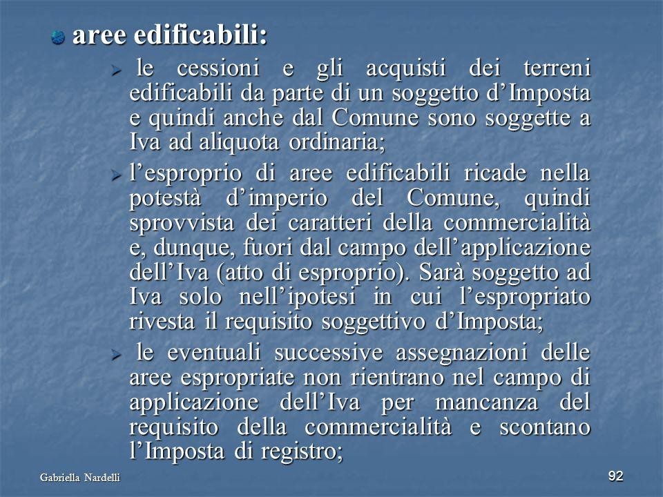 Gabriella Nardelli 92 aree edificabili: aree edificabili: le cessioni e gli acquisti dei terreni edificabili da parte di un soggetto dImposta e quindi