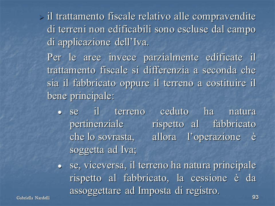 Gabriella Nardelli 93 il trattamento fiscale relativo alle compravendite di terreni non edificabili sono escluse dal campo di applicazione dellIva. il