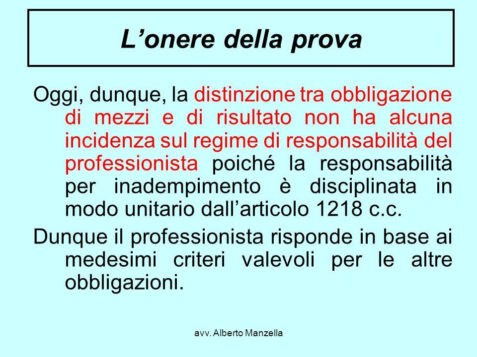 avv. Alberto Manzella Lonere della prova Oggi, dunque, la distinzione tra obbligazione di mezzi e di risultato non ha alcuna incidenza sul regime di r