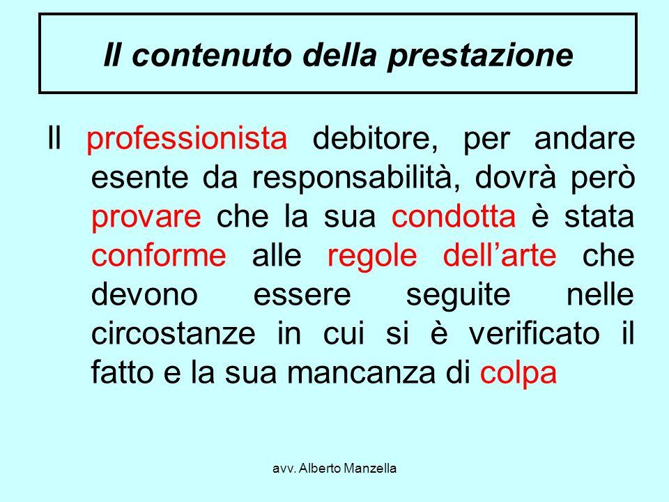 avv. Alberto Manzella Il contenuto della prestazione Il professionista debitore, per andare esente da responsabilità, dovrà però provare che la sua co