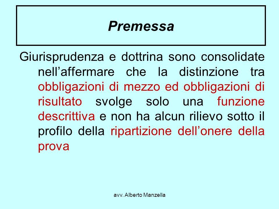 avv. Alberto Manzella Premessa Giurisprudenza e dottrina sono consolidate nellaffermare che la distinzione tra obbligazioni di mezzo ed obbligazioni d