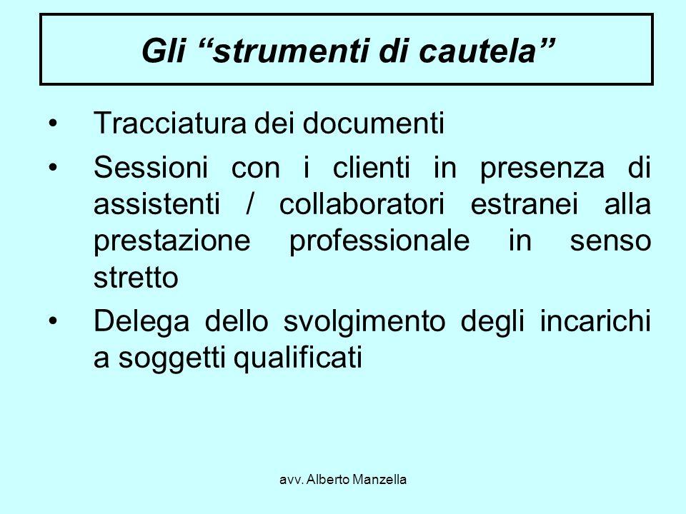 avv. Alberto Manzella Gli strumenti di cautela Tracciatura dei documenti Sessioni con i clienti in presenza di assistenti / collaboratori estranei all