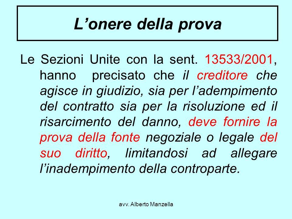 avv. Alberto Manzella Lonere della prova Le Sezioni Unite con la sent. 13533/2001, hanno precisato che il creditore che agisce in giudizio, sia per la