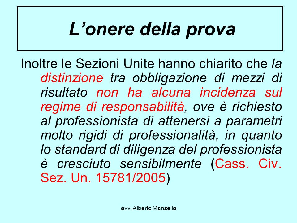 avv. Alberto Manzella Lonere della prova Inoltre le Sezioni Unite hanno chiarito che la distinzione tra obbligazione di mezzi di risultato non ha alcu