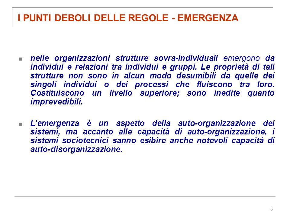6 I PUNTI DEBOLI DELLE REGOLE - EMERGENZA nelle organizzazioni strutture sovra-individuali emergono da individui e relazioni tra individui e gruppi. L