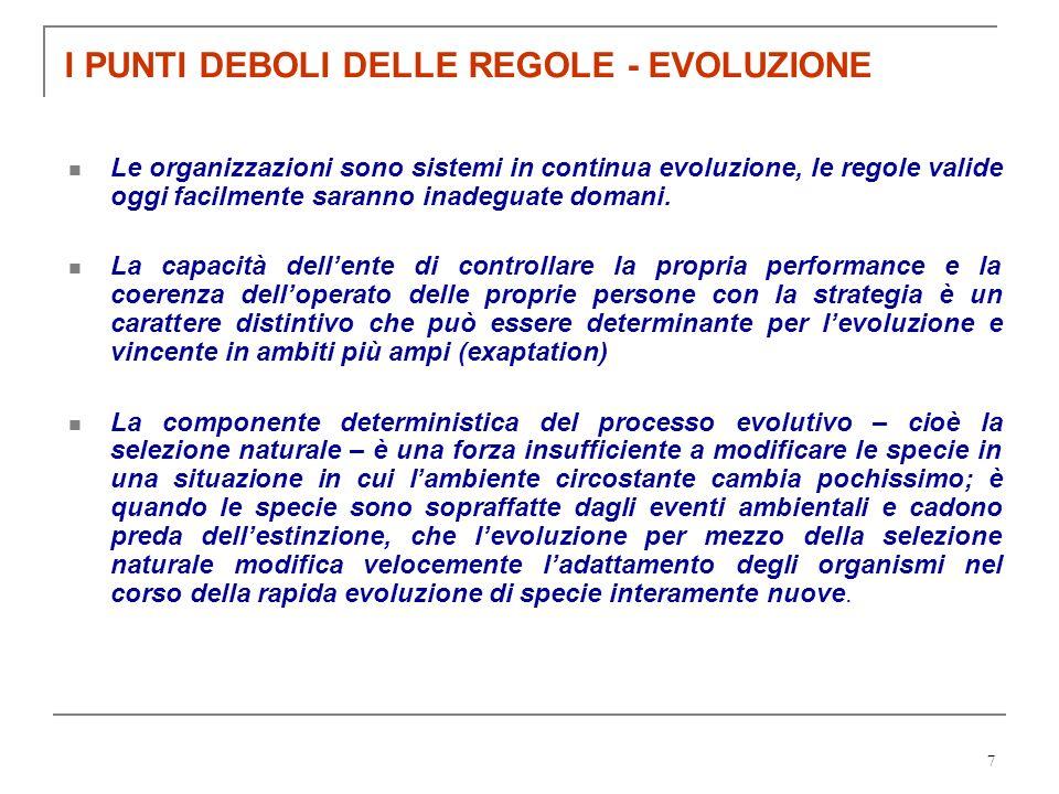 7 I PUNTI DEBOLI DELLE REGOLE - EVOLUZIONE Le organizzazioni sono sistemi in continua evoluzione, le regole valide oggi facilmente saranno inadeguate