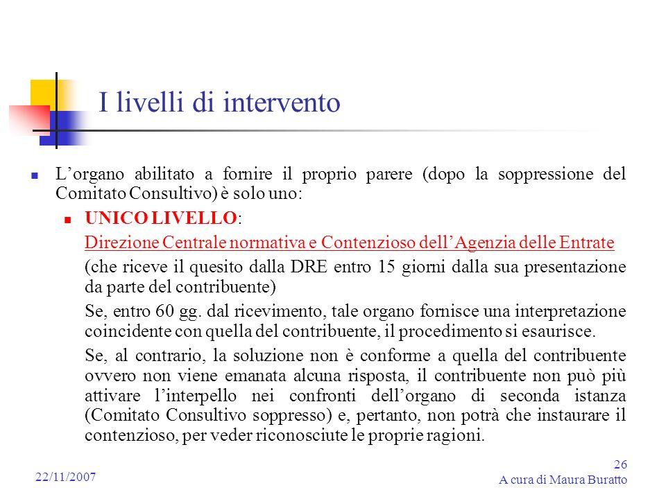 26 A cura di Maura Buratto 22/11/2007 I livelli di intervento Lorgano abilitato a fornire il proprio parere (dopo la soppressione del Comitato Consult