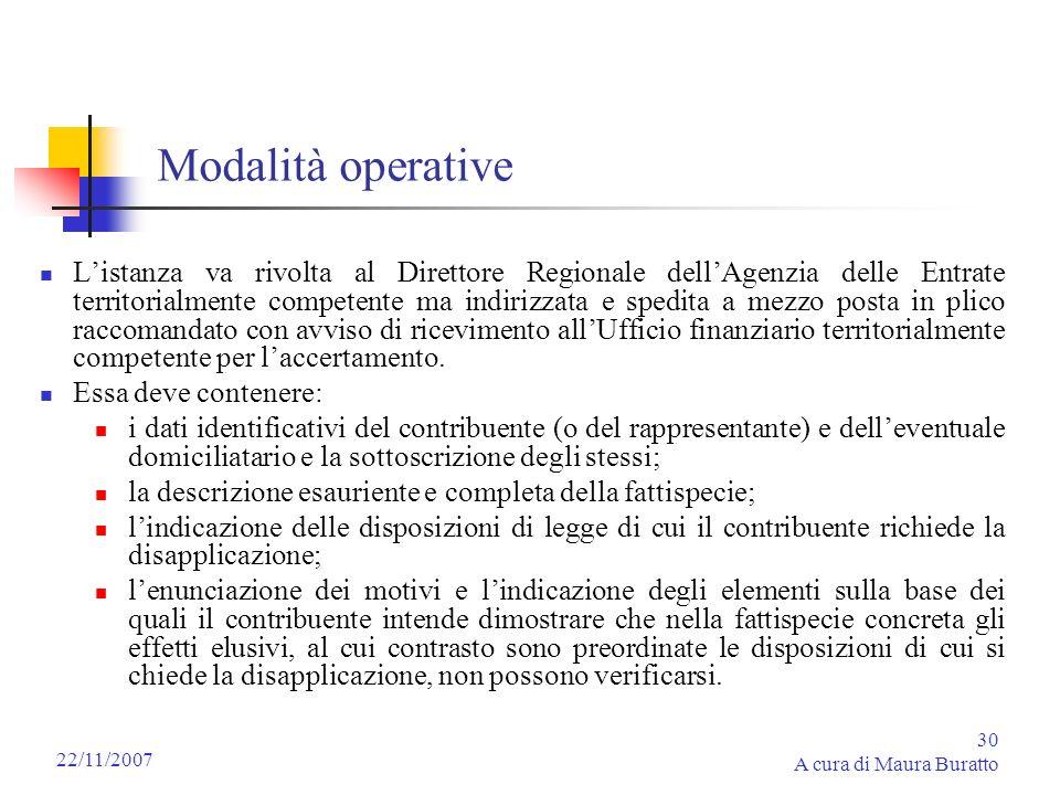 30 A cura di Maura Buratto 22/11/2007 Modalità operative Listanza va rivolta al Direttore Regionale dellAgenzia delle Entrate territorialmente compete