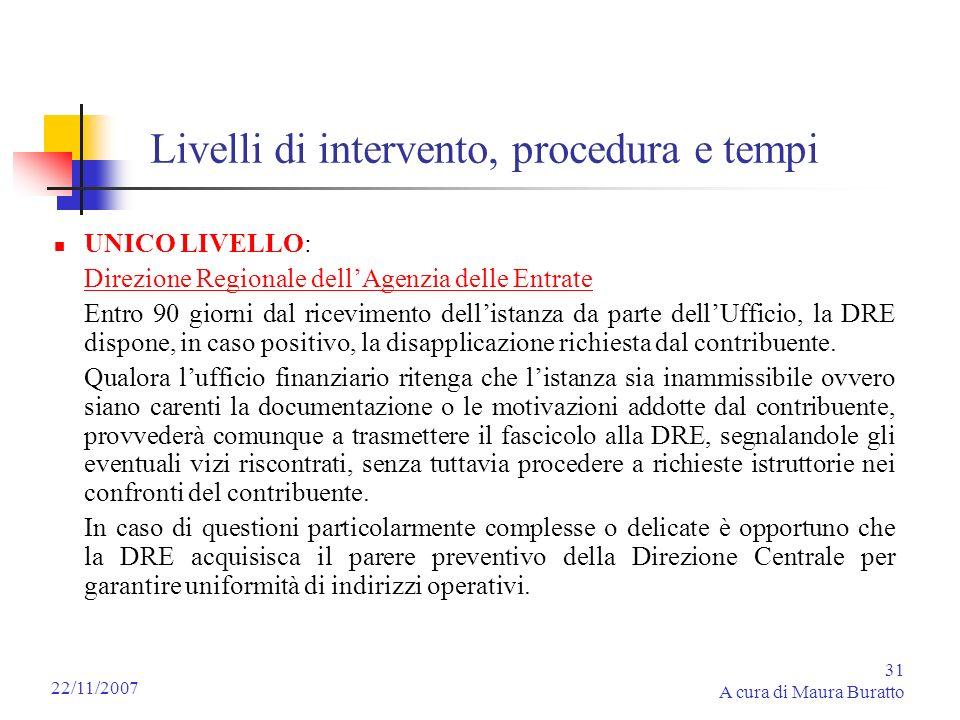 31 A cura di Maura Buratto 22/11/2007 Livelli di intervento, procedura e tempi UNICO LIVELLO: Direzione Regionale dellAgenzia delle Entrate Entro 90 g