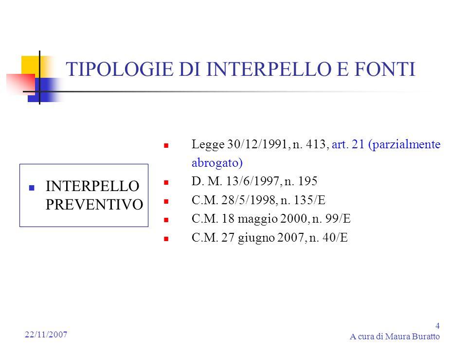 4 A cura di Maura Buratto 22/11/2007 TIPOLOGIE DI INTERPELLO E FONTI INTERPELLO PREVENTIVO Legge 30/12/1991, n. 413, art. 21 (parzialmente abrogato) D