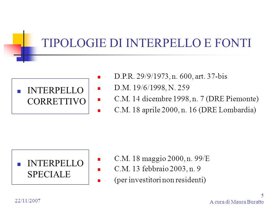 5 A cura di Maura Buratto 22/11/2007 TIPOLOGIE DI INTERPELLO E FONTI INTERPELLO CORRETTIVO INTERPELLO SPECIALE D.P.R. 29/9/1973, n. 600, art. 37-bis D