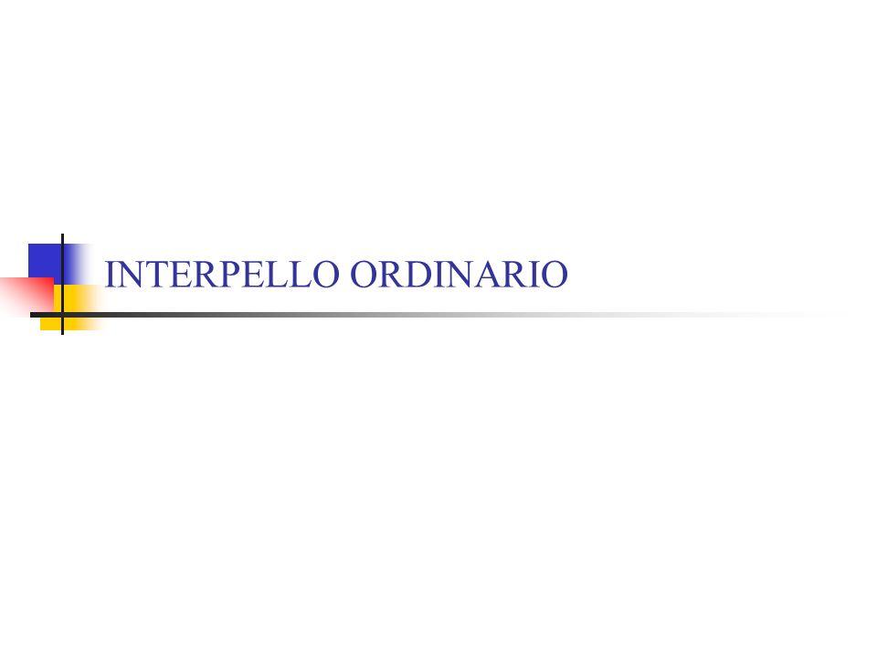 INTERPELLO ORDINARIO