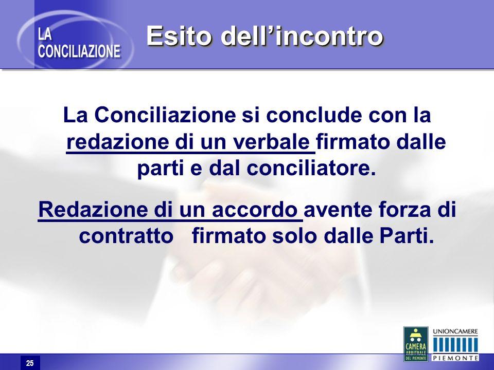 25 La Conciliazione si conclude con la redazione di un verbale firmato dalle parti e dal conciliatore. Redazione di un accordo avente forza di contrat