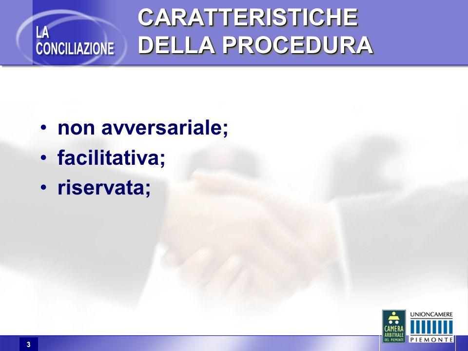 3 CARATTERISTICHE DELLA PROCEDURA non avversariale; facilitativa; riservata;