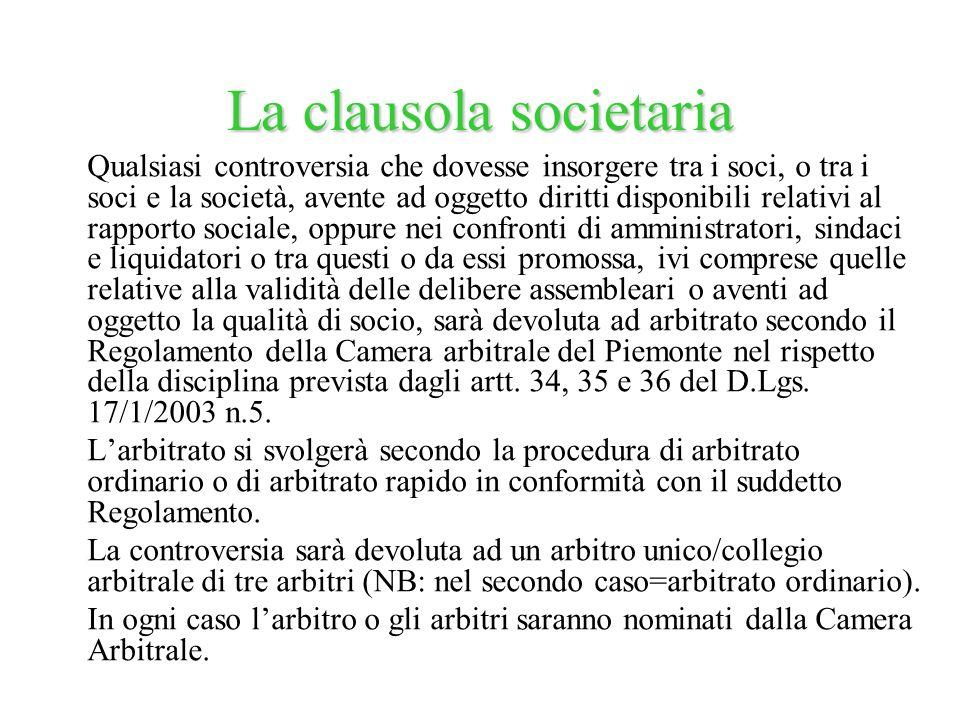 Qualsiasi controversia che dovesse insorgere tra i soci, o tra i soci e la società, avente ad oggetto diritti disponibili relativi al rapporto sociale