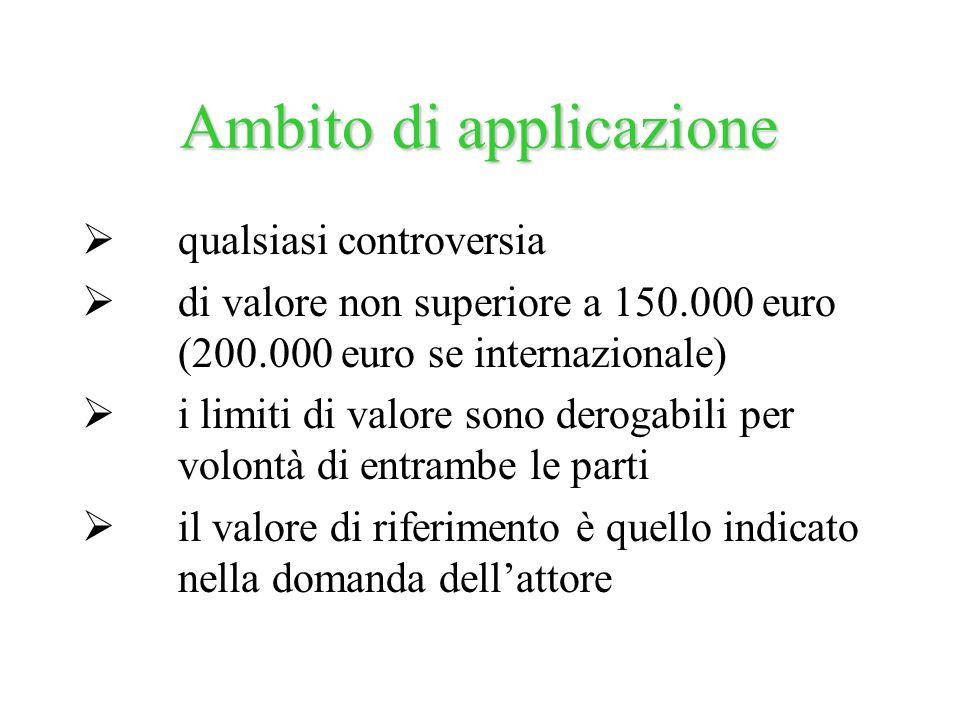 qualsiasi controversia di valore non superiore a 150.000 euro (200.000 euro se internazionale) i limiti di valore sono derogabili per volontà di entra