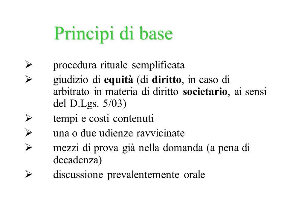 procedura rituale semplificata giudizio di equità (di diritto, in caso di arbitrato in materia di diritto societario, ai sensi del D.Lgs. 5/03) tempi