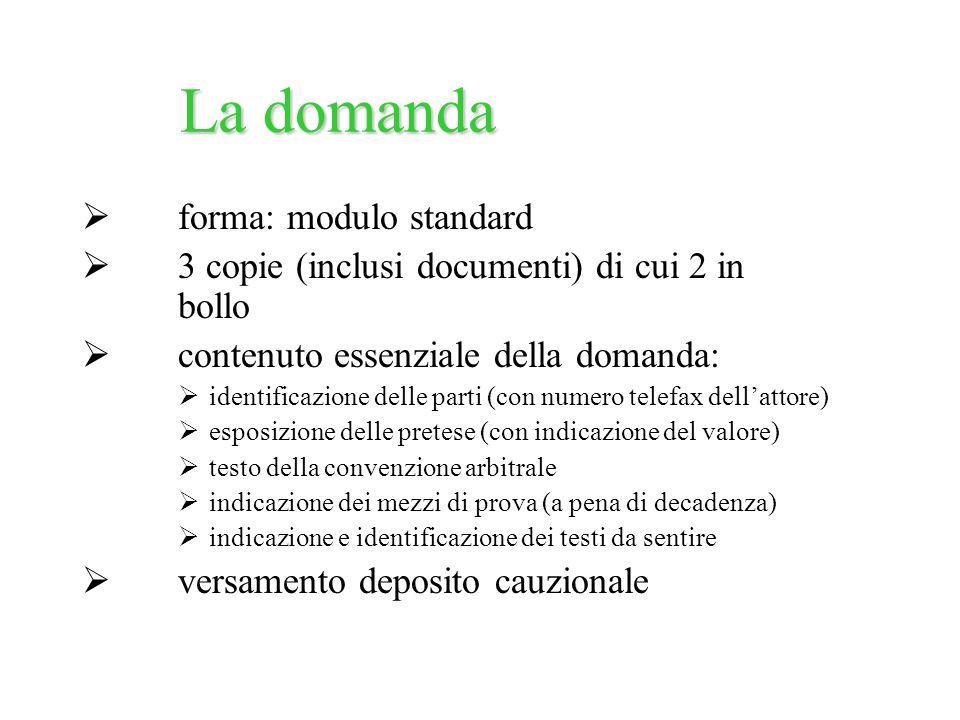 forma: modulo standard 3 copie (inclusi documenti) di cui 2 in bollo contenuto essenziale della domanda: identificazione delle parti (con numero telef