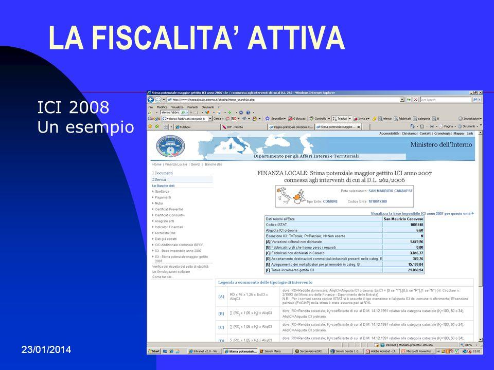 23/01/201435 LA FISCALITA ATTIVA ICI 2008 Un esempio