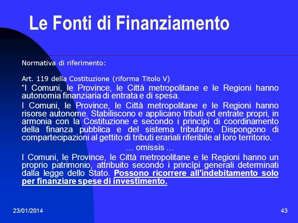 23/01/201443 Le Fonti di Finanziamento Normativa di riferimento: Art. 119 della Costituzione (riforma Titolo V) I Comuni, le Province, le Città metrop
