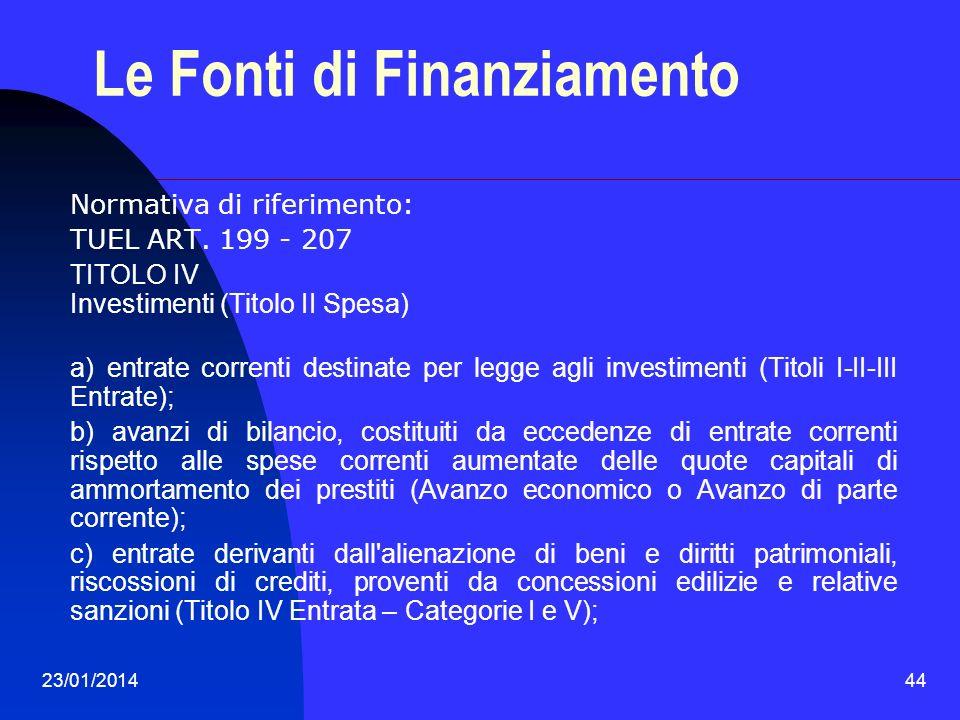 23/01/201444 Le Fonti di Finanziamento Normativa di riferimento: TUEL ART. 199 - 207 TITOLO IV Investimenti (Titolo II Spesa) a) entrate correnti dest