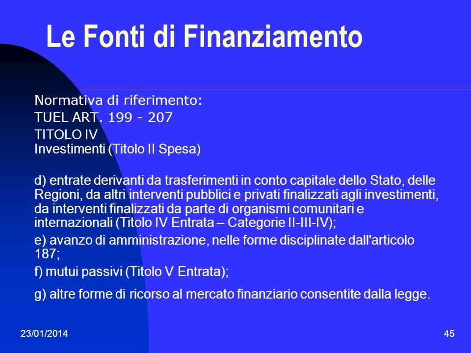 23/01/201445 Le Fonti di Finanziamento Normativa di riferimento: TUEL ART. 199 - 207 TITOLO IV Investimenti (Titolo II Spesa) d) entrate derivanti da