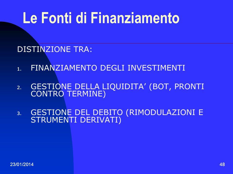 23/01/201448 Le Fonti di Finanziamento DISTINZIONE TRA: 1. FINANZIAMENTO DEGLI INVESTIMENTI 2. GESTIONE DELLA LIQUIDITA (BOT, PRONTI CONTRO TERMINE) 3