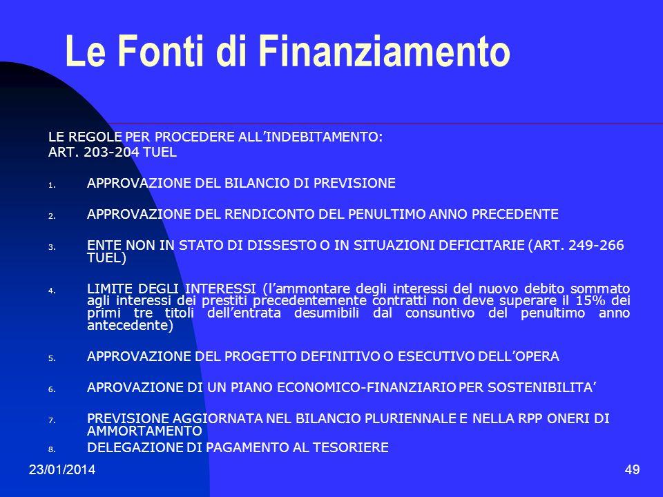 23/01/201449 Le Fonti di Finanziamento LE REGOLE PER PROCEDERE ALLINDEBITAMENTO: ART. 203-204 TUEL 1. APPROVAZIONE DEL BILANCIO DI PREVISIONE 2. APPRO