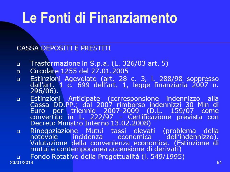 23/01/201451 Le Fonti di Finanziamento CASSA DEPOSITI E PRESTITI Trasformazione in S.p.a. (L. 326/03 art. 5) Circolare 1255 del 27.01.2005 Estinzioni