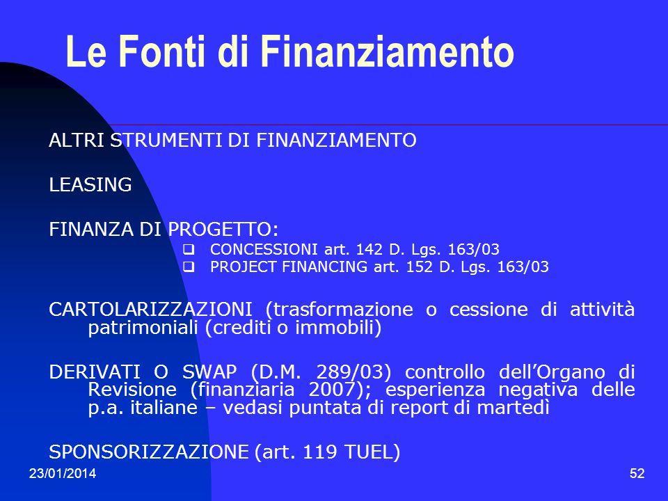 23/01/201452 Le Fonti di Finanziamento ALTRI STRUMENTI DI FINANZIAMENTO LEASING FINANZA DI PROGETTO: CONCESSIONI art. 142 D. Lgs. 163/03 PROJECT FINAN