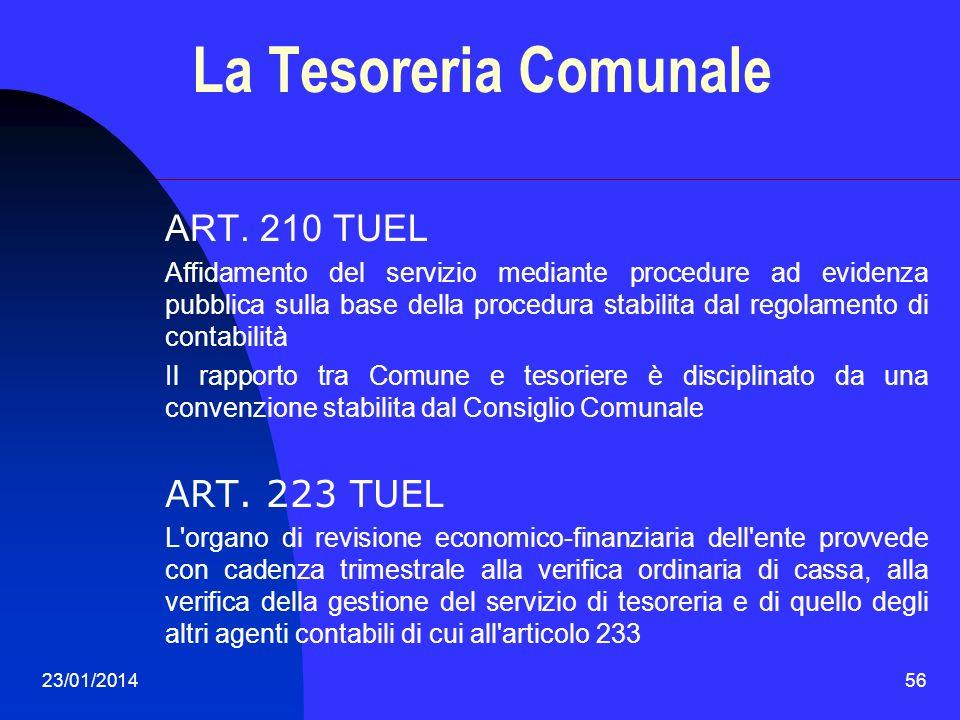 23/01/201456 La Tesoreria Comunale ART. 210 TUEL Affidamento del servizio mediante procedure ad evidenza pubblica sulla base della procedura stabilita