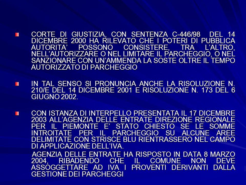 CORTE DI GIUSTIZIA, CON SENTENZA C-446/98 DEL 14 DICEMBRE 2000 HA RILEVATO CHE I POTERI DI PUBBLICA AUTORITA POSSONO CONSISTERE, TRA LALTRO, NELLAUTOR