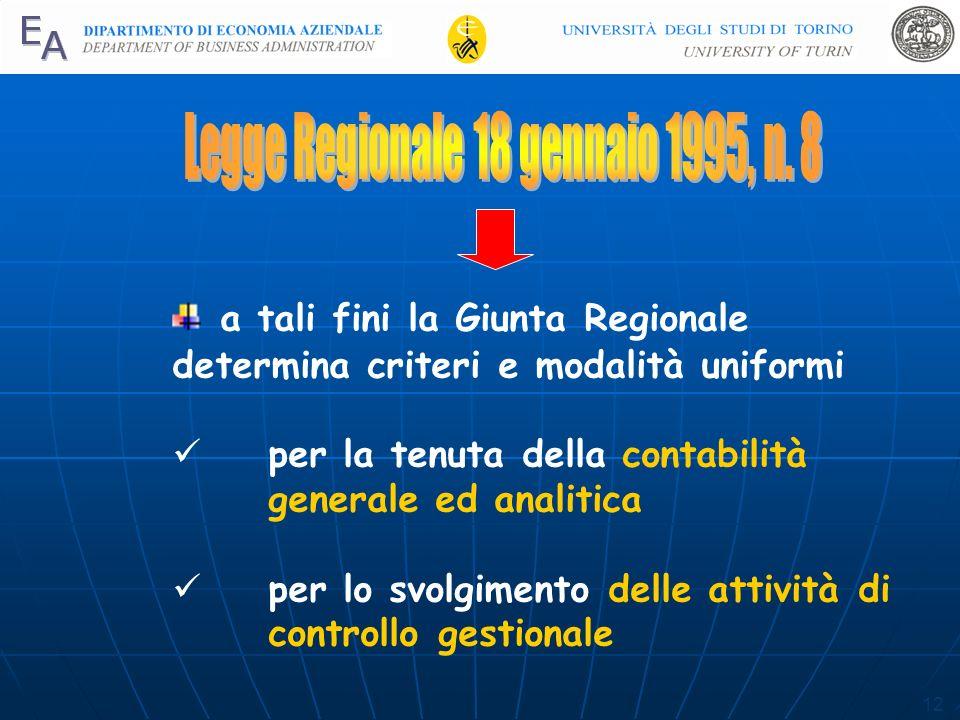 12 a tali fini la Giunta Regionale determina criteri e modalità uniformi per la tenuta della contabilità generale ed analitica per lo svolgimento delle attività di controllo gestionale